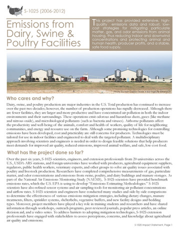 Emissions from Dairy, Swine & Poultry Facilities (S-1025 | 2006-2012)