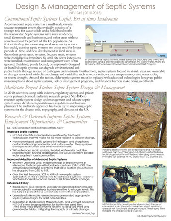Septic System Design & Management (NE-1045 | 2010-2015)