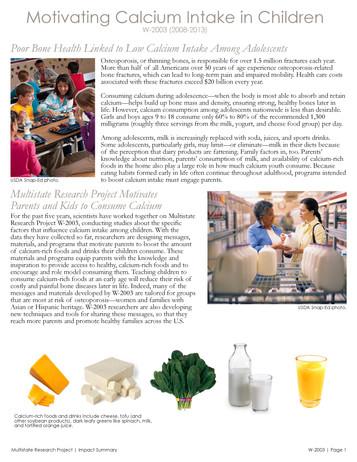 Motivating Calcium Consumption in Children (W-2003 | 2008-2013)