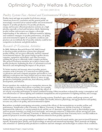 Improving Poultry Welfare & Production (NE-1042   2009-2014)