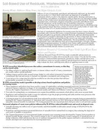 Reusing Agricultural Waste & Wastewater (W-2170 | 2009-2014)