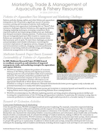 Managing Fisheries & Aquaculture Resources (W-2004   2009-2014)