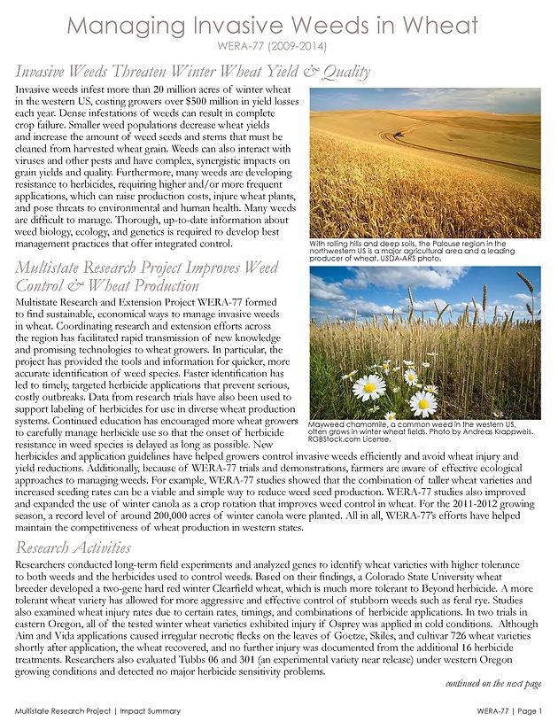 Managing Invasive Weeds in Wheat (WERA-77 | 2009-2014) | Multistate