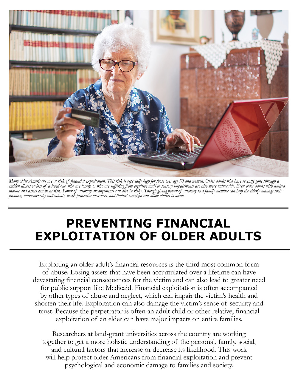 Preventing Financial Exploitation of Older Adults. Click to view/download a PDF of the Impact Statement.