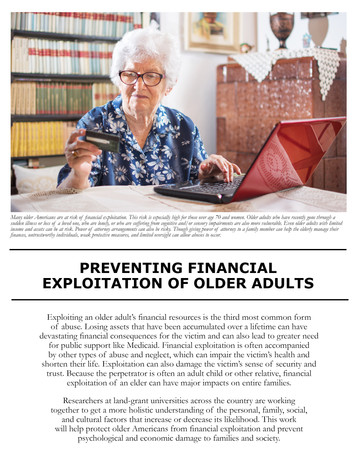 Preventing Financial Exploitation of Older Adults (W-2191 | 2012-2017)