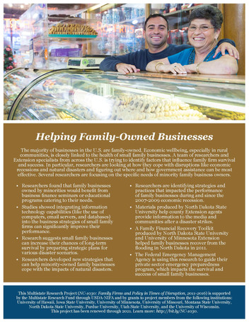 Helping Family-Owned Businesses (NC-1030   2011-2016)