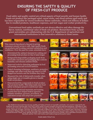 Ensuring the Safety & Quality of Fresh-Cut Produce (S-294   2011-2016)