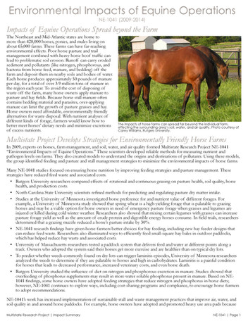 The Environmental Impacts of Horse Farms (NE-1041   2009-2014)