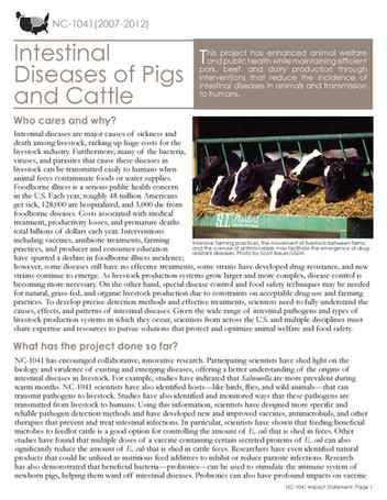 Intestinal Diseases of Pigs & Cattle (NC-1041 | 2007-2012)