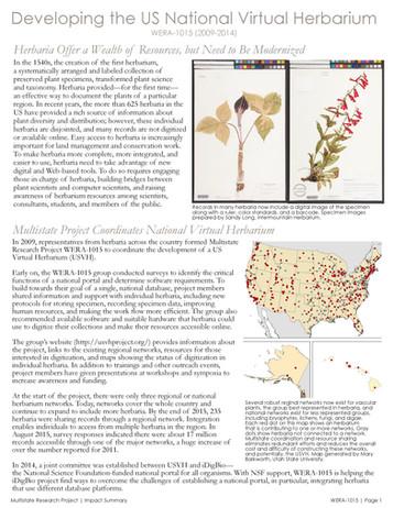 The National Virtual Herbarium (WERA-1015 | 2009-2014)