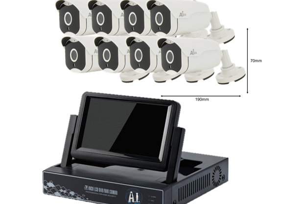 WIRELESS NVR (Network Video Recorder) (8 CHANNEL)  (Bullet) (4TB) ( 7 INCH Scre