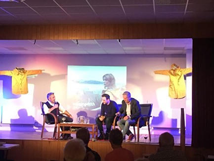Matthew Hall chatting with special guests Aneirin Hughes (Tom Howells) and Alex Harries (Arthur Davies) from the cast of Keeping Faith
