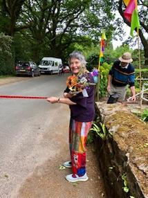 Ruth ready with the finish ribbon