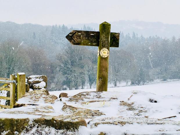 Signpost near Ninewells Farm