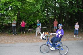 Kathy nearing the finish line