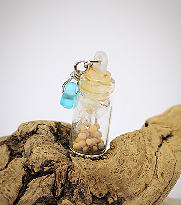 Faith & Wishes Handcrafted Necklace ( the glass bottle is 1 inch tall)