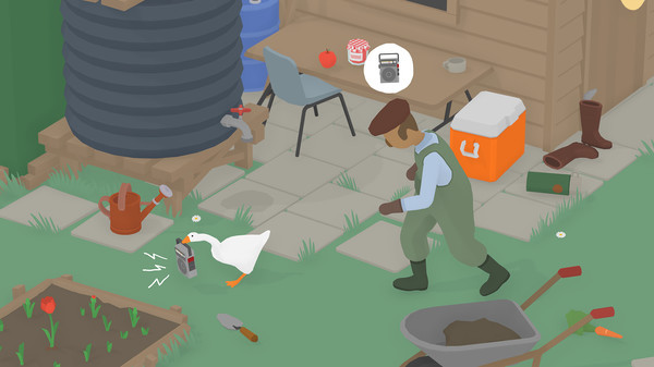The goose, stealing a radio from the gardener