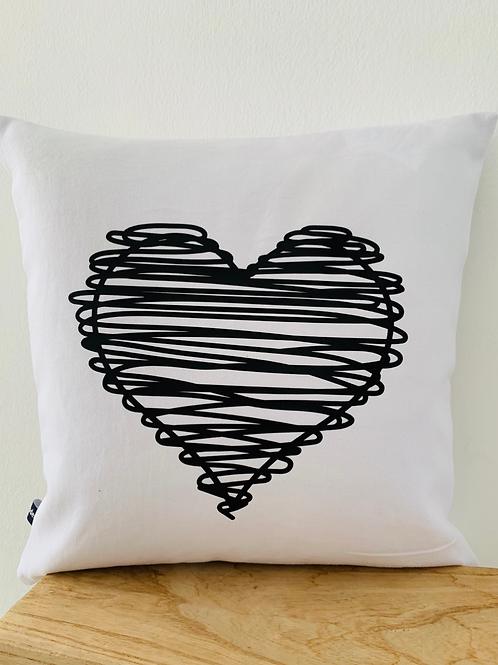 Kissenhülle - Heart scribble