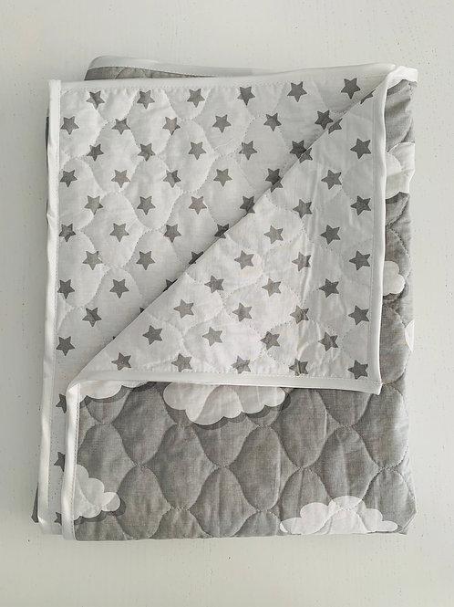 Steppdecke- grau/weiß