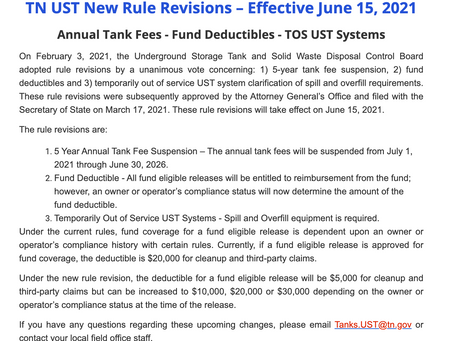 Tennessee UST New Rules - Effective June 15, 2021