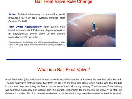 Ball Float Valve Rule Change