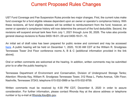 New Rule Changes and Tank Owner Responsibilities