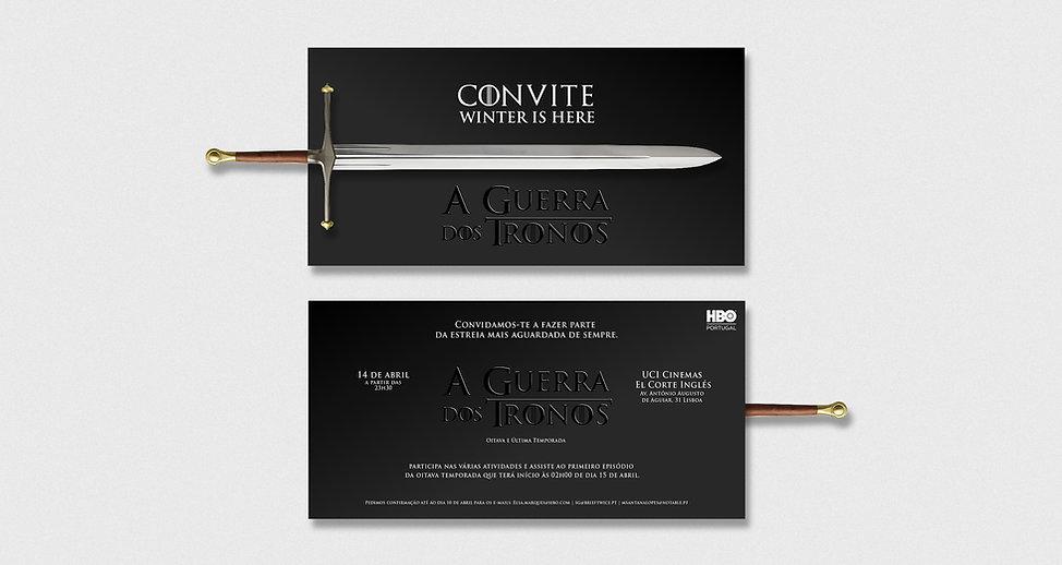 Design de Convite Físico do Lançamento da Oitava Temporada da Guerra dos Tronos