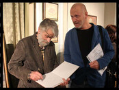 A meeting of the artist Vladimir Lyubarov and art-critic Valentine Ryabov.