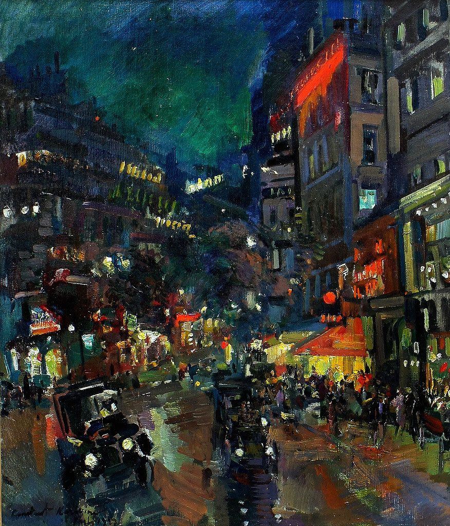 К. А. Коровин. Ночной Париж, х.м., 64.8х53.8 см, 1923 г
