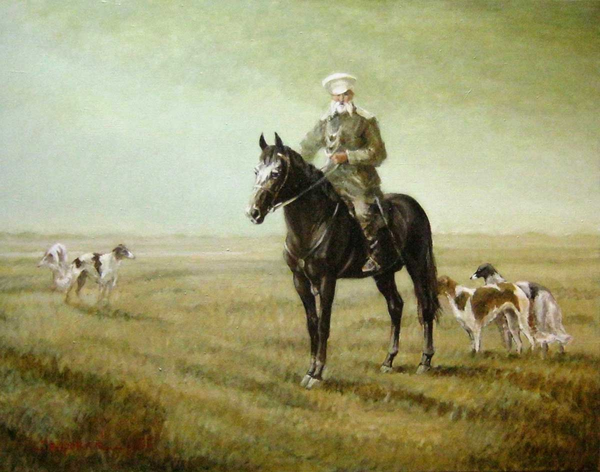 """An officer with greyhounds"""