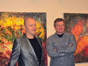 Installation of Sergey Fedotov's paintings at the opening ceremony of the Savvinskaya Art Center (Mo