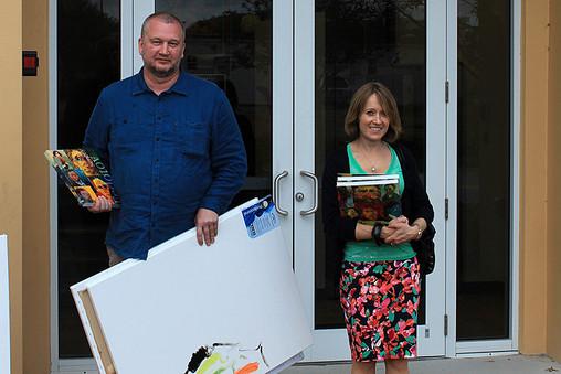 Artist Sergey Fedotov and representative of The Valentine Ryabov Gallery in the USA Maria Bruckman.