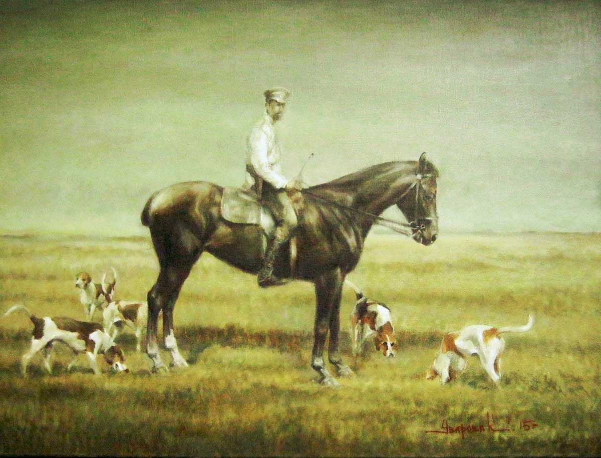 """An officer in a field with hounds"