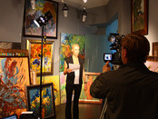 Photo reports from the film site of a show about modern art in the Valentine Ryabov gallery for Glob