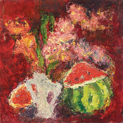 """""""Still life with gladiolas and..."""