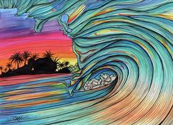 Wave Illustration on Paper