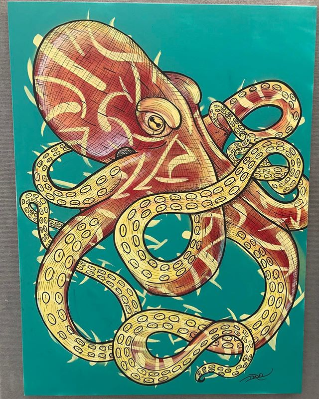 Octopus Painting on Canvas