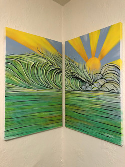 Diptych Wave Paintings on Canvas