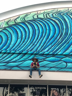 Close up of Wave Mural Painting