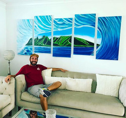 Pentaptych Wave Painting on Canvas