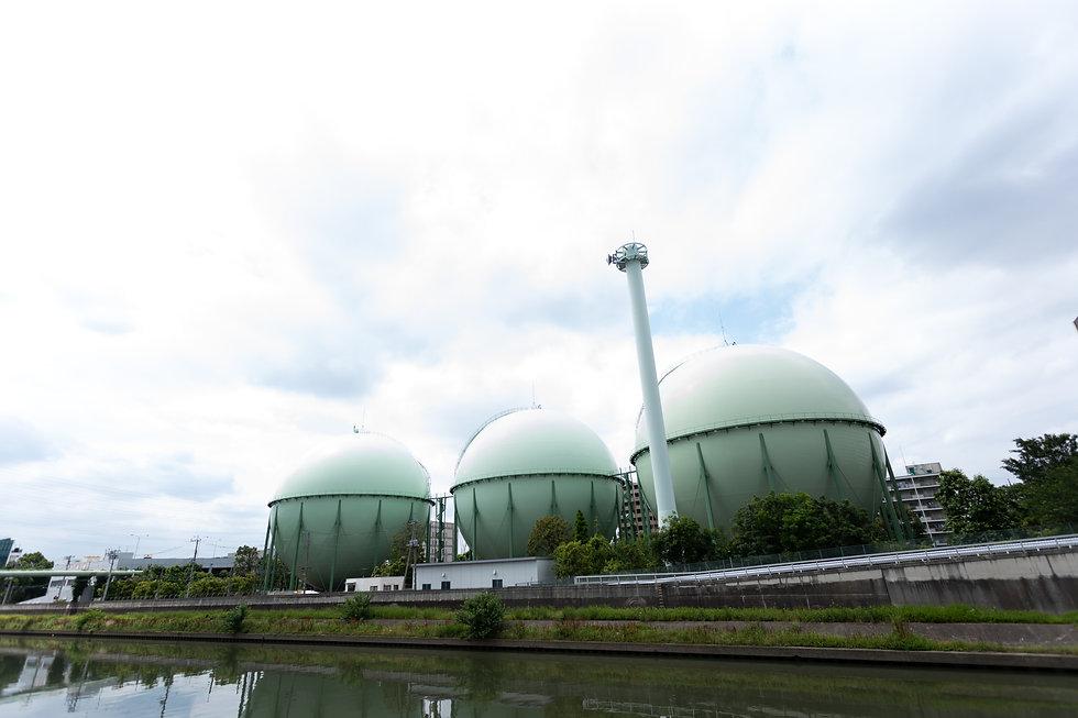Spherical green tanks containing fuel ga
