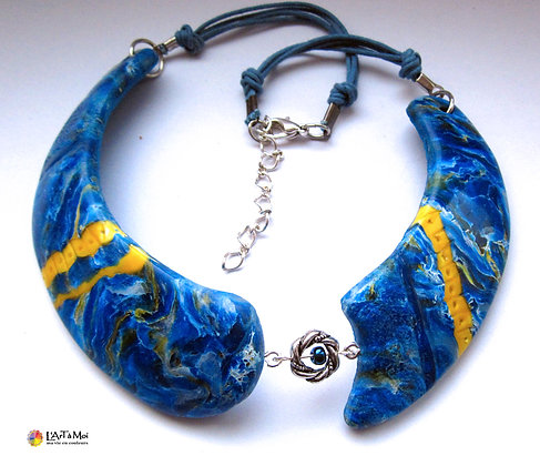 Plastron faux lapis-lazuli