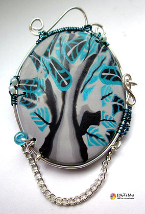 Broche ovale grise et turquoise