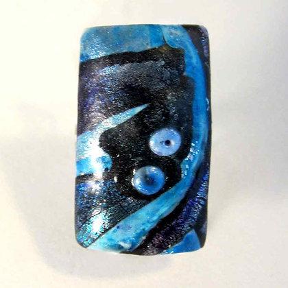 Bague rectangle nuit bleue