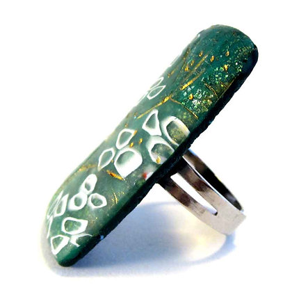 bague rectangle vert jade