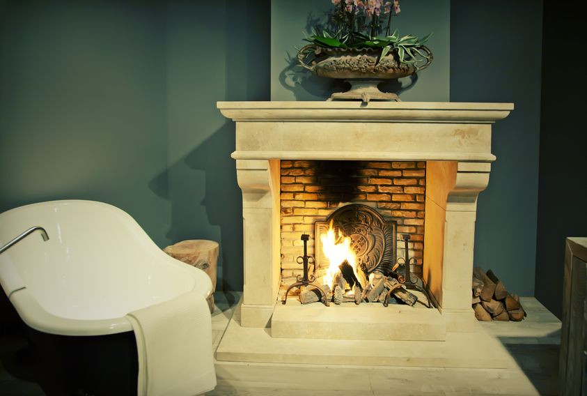 Cosy autumn style fireplace