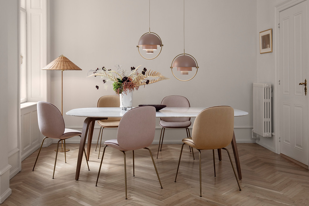 Gubi beetle chairs in pastel colours