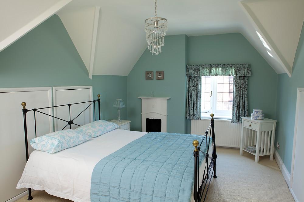 Farrow and ball green bedroom