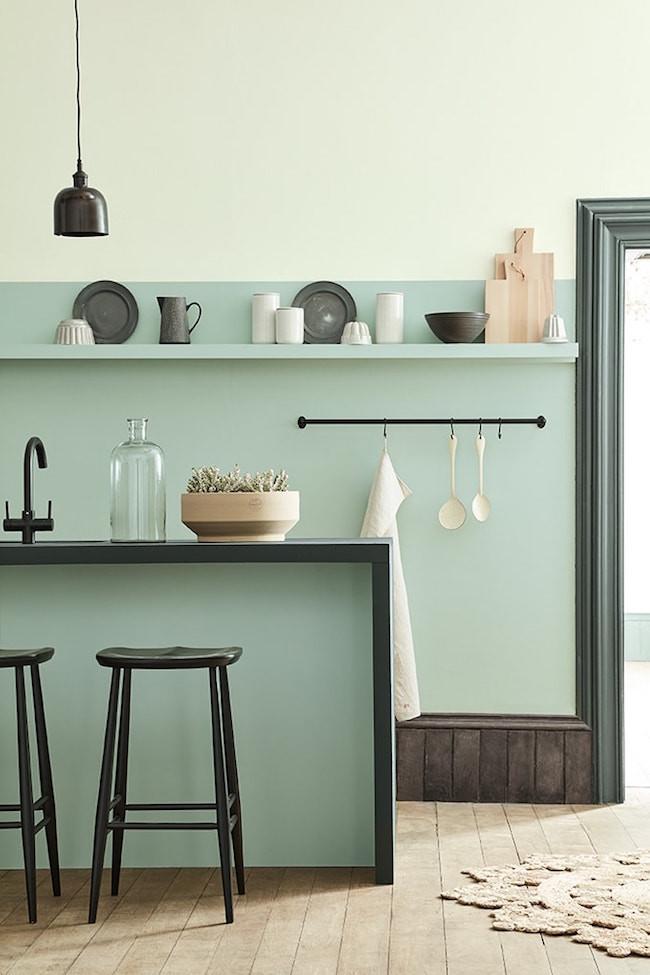 Pale green kitchen little greene paint