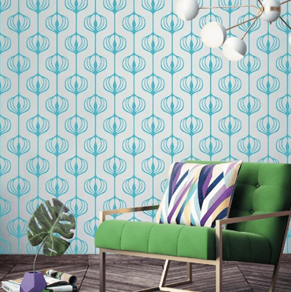 Blue vinyl wall pattern